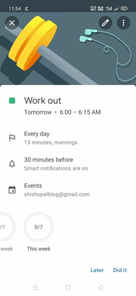 google calander reminders goal