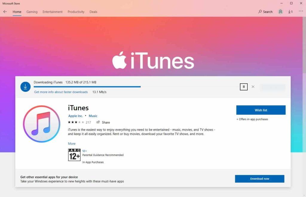 itunes update microsoft windows store