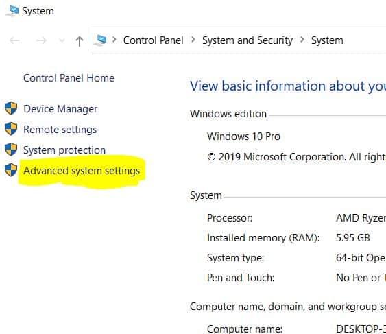 2. Windows 10 Advanced system settings