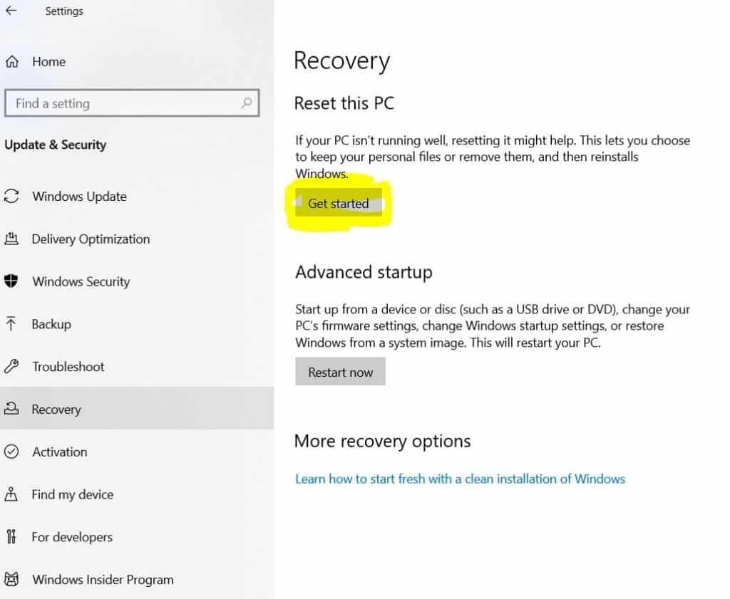 3. Windows 10 Reset
