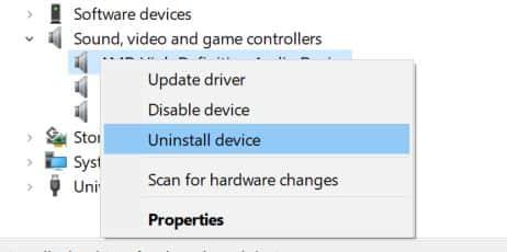 3. Windows 10 uninstall audio device