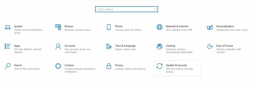 2. Windows 10 settings dashboard